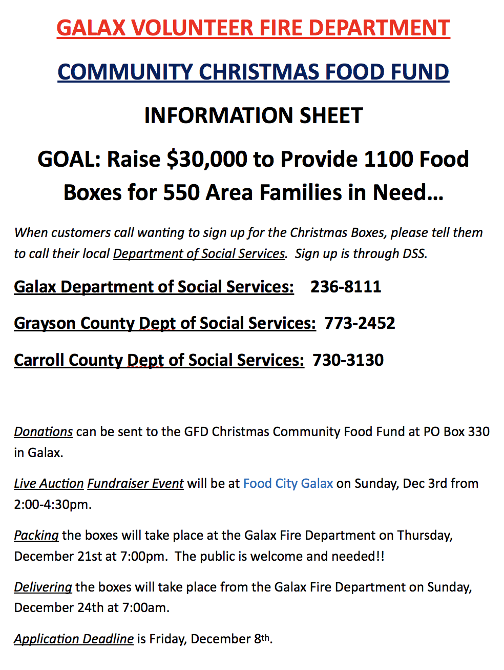Community Christmas Food Fund - 2017 - Galax Fire Department